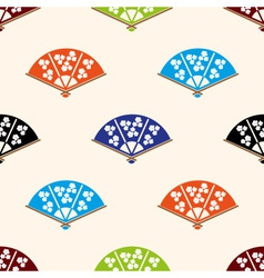 Asian hand fan various colors set seamless pattern vector