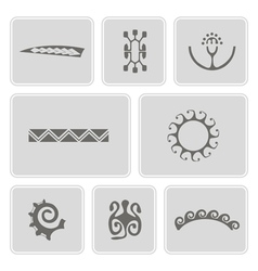 Icons with polynesian tattoo symbols vector