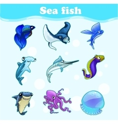 Colorful set of marine animals vector