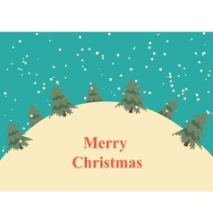 Vintage christmas card with snow hills and trees vector