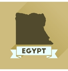 Flat icon with long shadow map of egypt vector