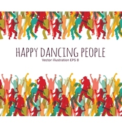 Happy dancing people background frame vector