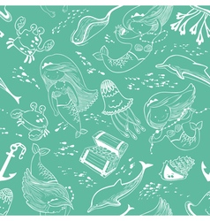 Pattern with doodle mermaid and underwater set vector