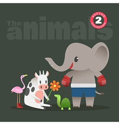 Animals cartoon elephant cow turtle flamingo vector