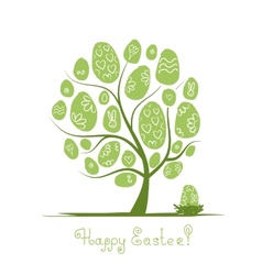 Art tree with easter eggs for your design vector image vector image