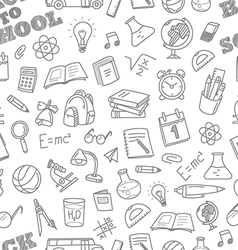 Back to school chalk doodles seamless pattern vector image vector image