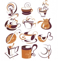 big set of coffeetea elements vector image vector image