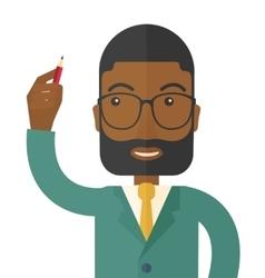 Black man holding a pen vector image