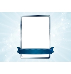 Blank white rectangle with silver frame and blue vector image vector image