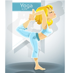 Blond girl in yoga pose Nataradzhasana vector image vector image