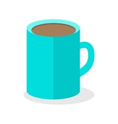 Blue coffee cup isolated hot strong beverage vector