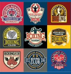 boxing academy badges and symbols collection vector image vector image
