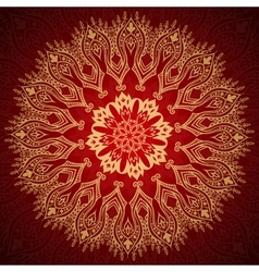 Burgundy pattern with gold lace ornament vector image vector image