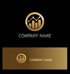 Business finance progress round gold logo vector