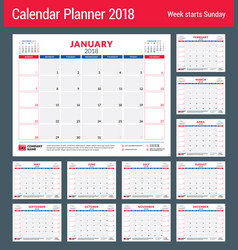 Calendar planner for 2018 year design print vector