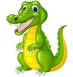 Cartoon cute crocodile vector image