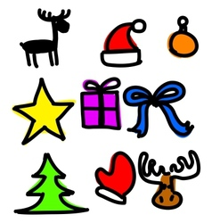 Christmas objects collection cartoon simple shapes vector image vector image