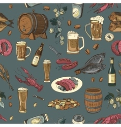 Colored beer hand drawing pattern vector image vector image