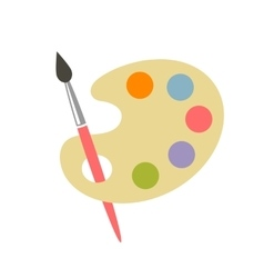 Colorful brush and palette icon vector