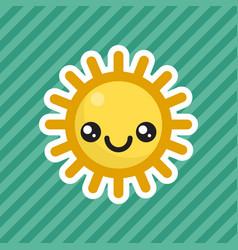 Cute kawaii smiling sun cartoon icon vector