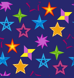 Different style shape silhouette shiny star icons vector