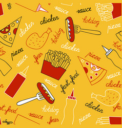 Fast food on a yellow background vector