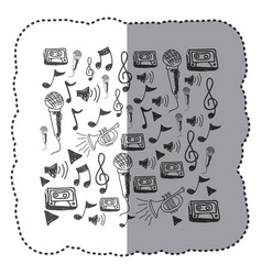 figure instruments music notes background icon vector image