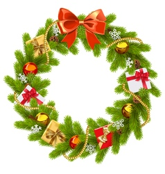 Fir wreath with red bow vector