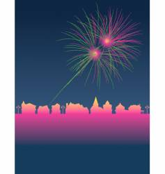 Fireworks town vector