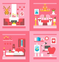 Flat design valentines day interior decoration vector image
