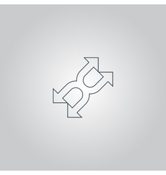 fourfold Arrow - icon isolated vector image vector image
