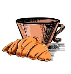Fresh croissant and cup vector image vector image