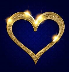Gold frame heart on a dark background vector