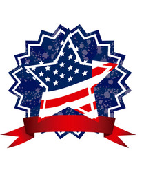 Independence day emblem with stars and stripes vector