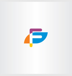 letter f icon logo logotype colorful symbol vector image vector image