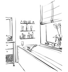 linear sketch of an interior part of the bathroom vector image vector image
