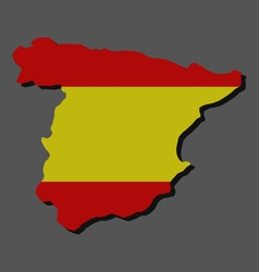 Map of spain with flag vector
