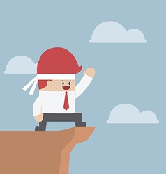 Motivated businessman on the cliff motivation con vector