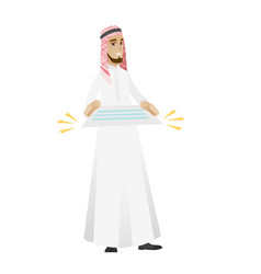 Muslim businessman holding a contract vector
