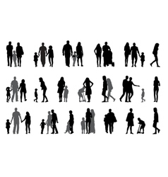 Parents and children with pram Silhouette vector image