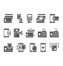 Pay on line and mobile banking icons vector