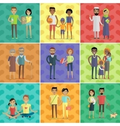 People of world concept in flat design vector image