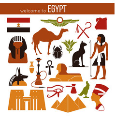 set of egypt symbols and landmarks flat vector image