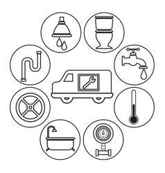 Sketch contour vehicle with icons plumbing vector