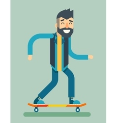 Smiling Adult Man Geek Scooter Happy Hipster vector image vector image