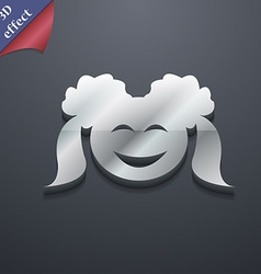 Smiling girl icon symbol 3d style trendy modern vector