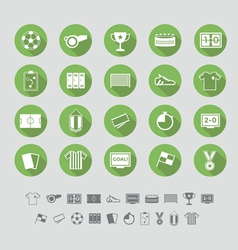 Soccer icons set flat design vector image vector image