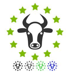 Starred bull flat icon vector