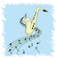 Stylish template of saxophone on blue background vector
