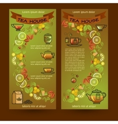Tea house cards flyers set of cup leaf lemon vector